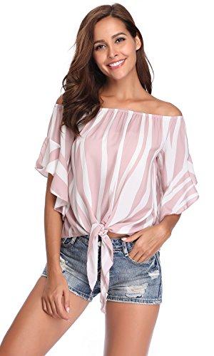 Women's Off The Shoulder Elastic Neckline Ruffle Short Sleeves Knot Tie Front Hem Blouse Top, Pink, M