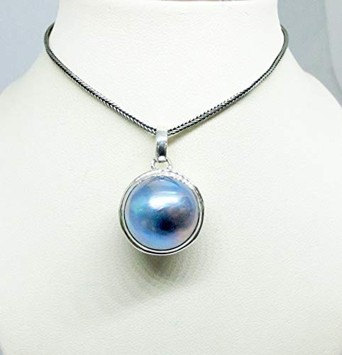 - handmade 925 sterling silver pendant with 16 mm round blue mabe pearl, ball style pendant with blue mabe pearl, genuine mabe pearl necklace pendant