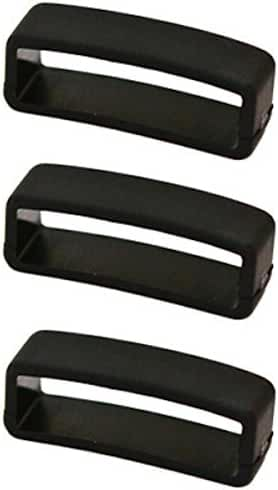 3 PIECES SIZE 24MM BLACK RUBBER CUIR DE LYON REPLACEMENT WATCH BAND STRAP LOOPS