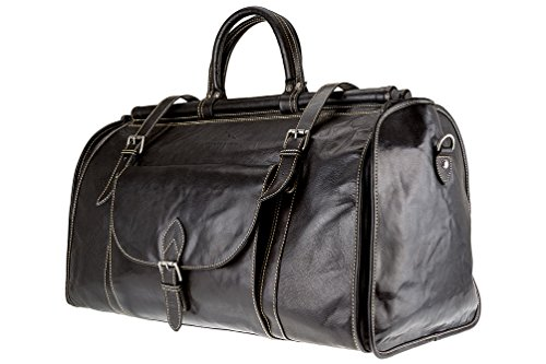 2 Buffalo Duffle Genuine in Men Alpenleder Travel and Weekender Black Cognac Women Leather by 1 Garment Bag rr4RUAn