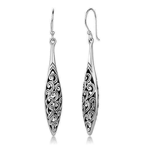 925 Sterling Silver Bali Inspired Open Filigree Puffed Marquise Long Dangle Hook Earrings 2.2