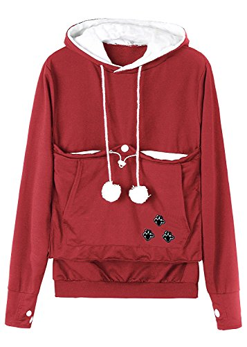 Dellytop Soft Plush Cat Ear Big Kangaroo Pouch Hoodie Long Sleeve Pet Cat Dog Holder Carrier Pull Over Sweatshirt (Red Snack Print)