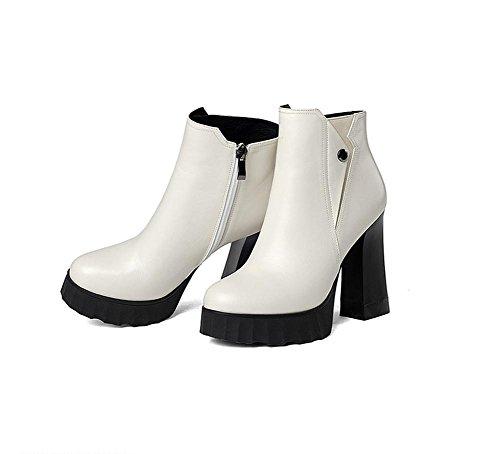 mit dick Winter wasserdichte Herbst und mit Frau Lederstiefel Absätzen hohen runden Schuhe Stiefel qSR0Zwn