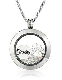 """Charmed Lockets""""Family Tree"""" Swarovski Crystal Charm Locket Necklace"""