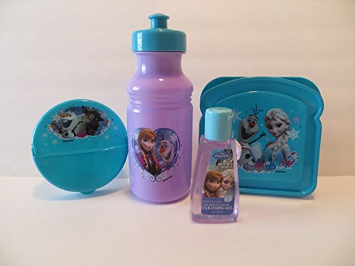 Disney Frozen Ana Elsa Olof Snacktime Meal Set Zak (4 Pieces) BPA Free Sandwich Container, Snack Round Container, Pop Up Water Bottle, Hand Cleansing Gel Gift Set