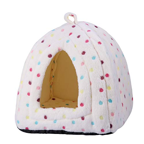 POPETPOP Triangular Dog House Puppy Teddy Mongolian Cats Tents Kennel Nest for Small Medium Pets