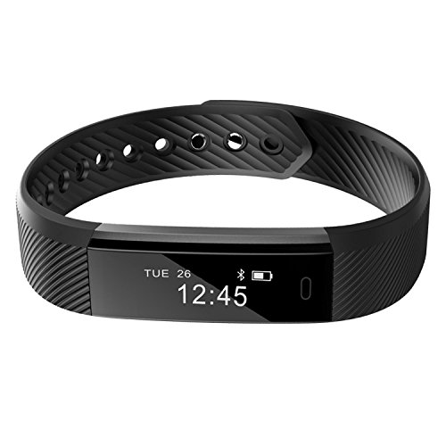Smart Bracelet ,REDGO Bluetooth Pedometer Bracelet Fitness Tracker with Touch Screen Calorie Distance Step Count Sleep Monitor Sports Activity Tracker for Men Women Boys Girls Ladies Man, Black