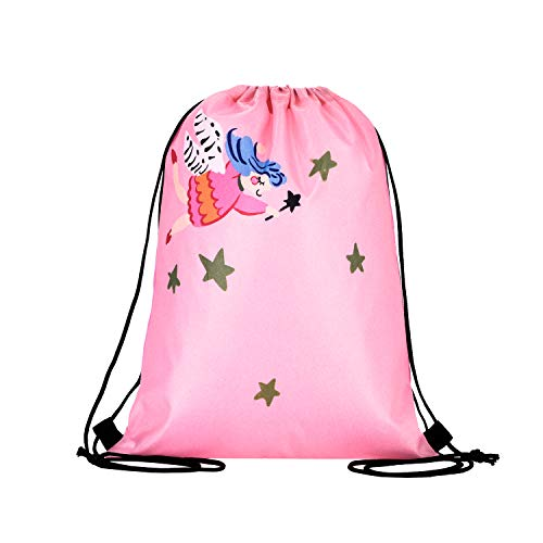 LIHI BAG 10 Pack Kids Nylon Party Supplies Favors Gift Drawstring Backpack Bags,Angel