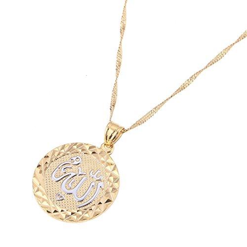 Platinum 24K New Islamic Allah Pendant Charms Choker Necklace Religious Muslim Jewelry (Platinum Round Pendant)