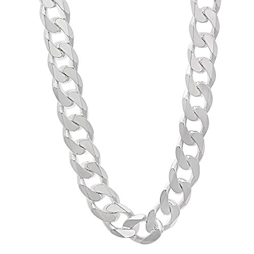 925 Sterling Silver Nickel-Free 9.2mm Beveled Cuban Link Chain Necklace, 18'' + Cleaning Cloth by The Bling Factory