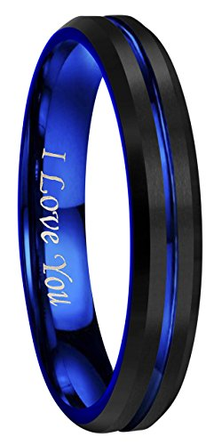 CROWNAL 4mm 6mm 8mm 10mm Blue Groove Black Matte Finish Tungsten Carbide Wedding Band Ring Engraved I Love You (4mm,6.5)