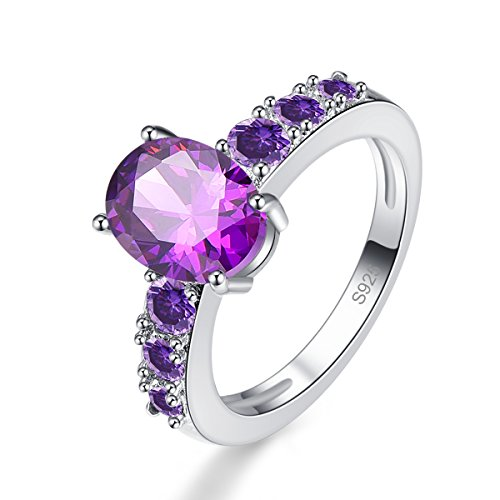 Psiroy 925 Sterling Silver Created Amethyst Filled Promise (Beautiful Promise Rings)