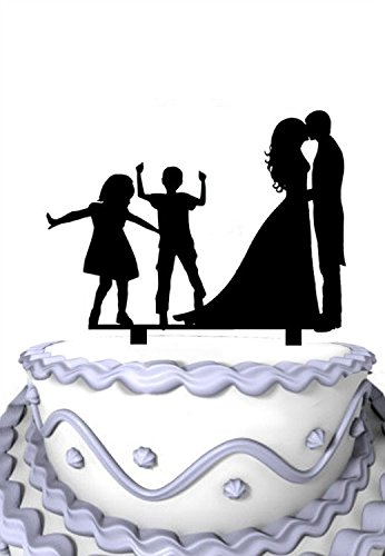 Meijiafei Kissing Brede and Groom with Boy Girl Dancing Family Wedding Cake Topper