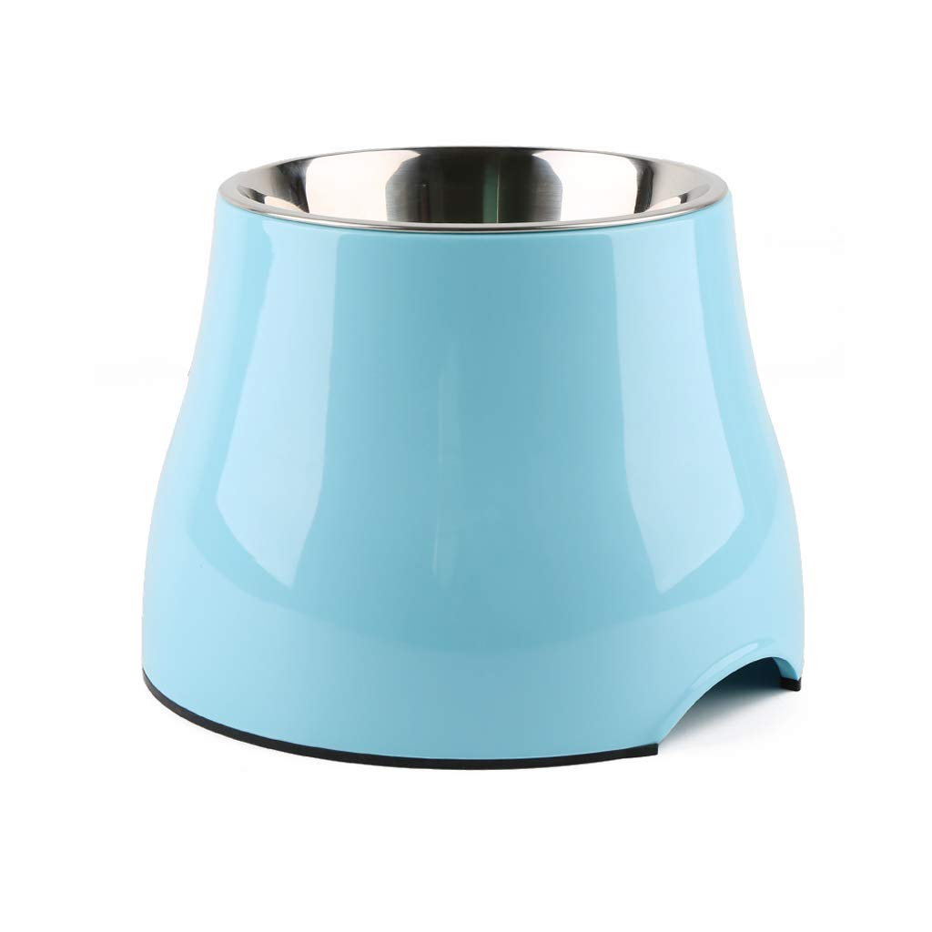 bluee S bluee S JIANXIN Dog Cat Bowl, Dog Bowl, High Bowl, Stainless Steel, Suitable for Pets (color   bluee, Size   S)