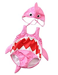 SUPEYA Baby Girls Boys Cartoon Shark Animal One-Piece Swimsuit Jumpsuit with Hat