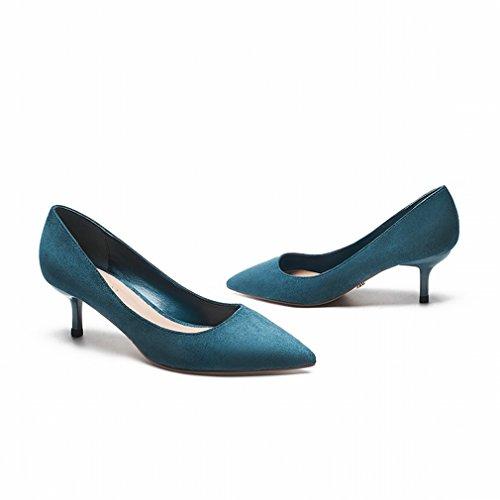 Zapatos de Gamuza con Punta de Tacón Alto Bien con Zapatos de Soltero de Mujer de Boca Baja Segundo