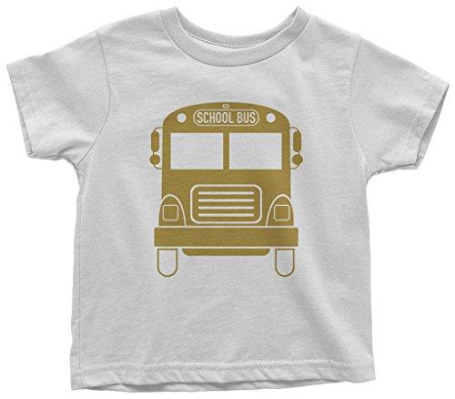 Threadrock Kids Gold School Bus Toddler T-Shirt 2T White (Toddler Tee School)