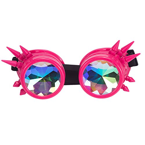 Halloween Goggles - Kaleidoscope Rave Steampunk Goggles with Rainbow Glass Lens ()