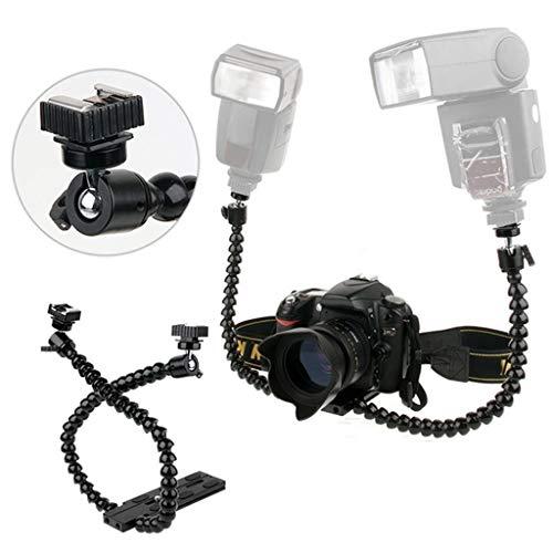 FidgetFidget Universal Camera Flexible Twin-Arm Hot Shoe Flash Bracket for Macro Shot