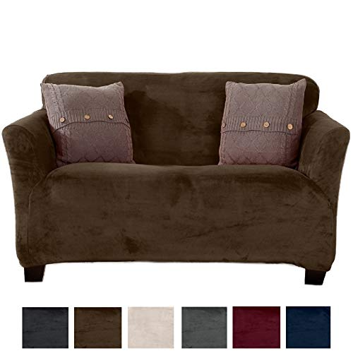 Great Bay Home Modern Velvet Plush Strapless Slipcover. Form Fit Stretch, Stylish Furniture Cover/Protector. Gale Collection Brand. (Loveseat, Walnut Brown) by Great Bay Home
