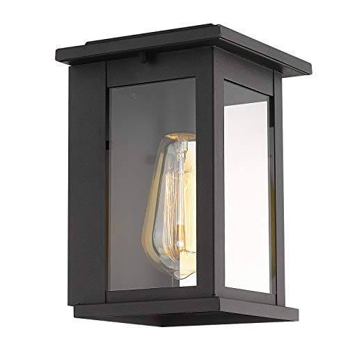 Emliviar Outdoor Wall Sconce Light Fixture, Black Finish with Clear Glass Shade, 1810-AW1 ()