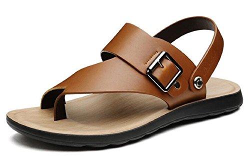 Happyshop(TM) Mens Leather Dual Purpose Sandals Toepost Flip-Flop Slipper Male Sandals Brown