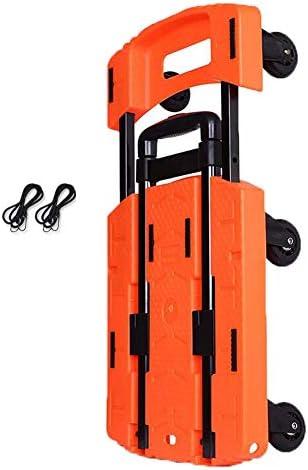 トロリー荷物カート、小型トレーラー折りたたみトロリー家庭用トラックショッピングカートロードキングプルカートG3 (色 : Orange)