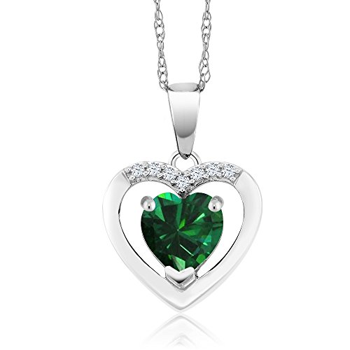 10K White Gold 0.73 Ct Green Simulated Emerald and Diamond Heart Pendant Necklace with 18 Inch Chain