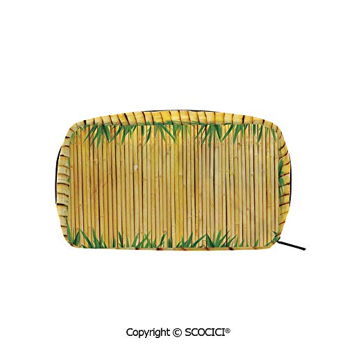 Rectangle Beauty Girl And Women Cosmetic Bags Bamboo Textured Background with Leaves Asian Wildlife Natural Style Decor Print Printed Storage Bags for Girls Travel