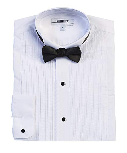 Gioberti Boy's Wing Tip Collar White Tuxedo Dress Shirt with Bow Tie and Metal Studs, White, Size 16 -