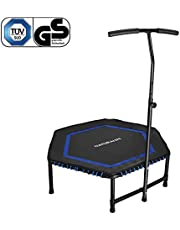 NATURALIFE Mini Fitness-Trampolin mit Griff, 106cm/Fitness Rebounder für Körpertraining und Cardio Workouts, Max bis 120kg Rot