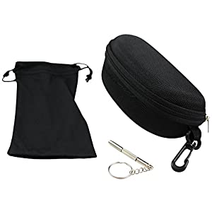 Eye Love Eyeglass Case, Tough, Heavy-Duty for Sunglasses & Eyeglasses Includes Soft Microfiber & Screwdriver Repair Set
