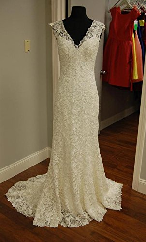 GEORGE BRIDE Elegant V Neck Capped Sleeves All-Over Lace Applique Wedding Gown Size 8 Ivory