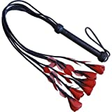 Black & Red Leather Rose Tipped Horse Whip