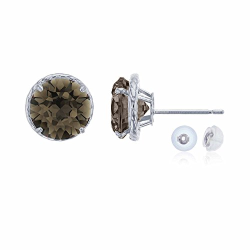 14K White Gold 7mm Round Smokey Quartz Rope Frame Stud Earring with Silicone Back ()