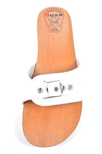 Buxa Sandalias / Zuecos para Mujer con Ajustador, Suela de Madera Blanco