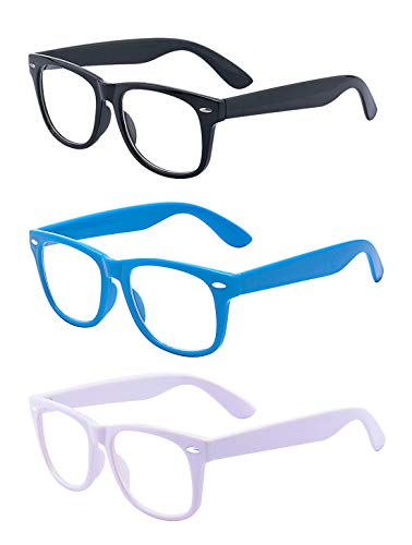 Outray 3 Pair Kids Children Nerd Retro Clear Lens Eye Glasses Age 3-10 (Black+Blue+White, 47)