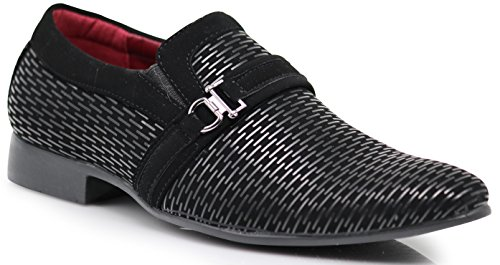 Enzo Romeo Plum05 Men's Dress Loafers Elastic Slip on with Buckle Fashion Shoes (10.5 D(M) US, Black/Black)