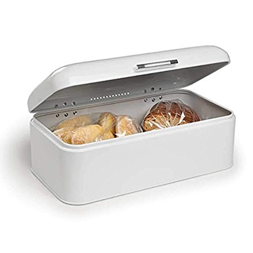 (Paksh Novelty Countertop Bread Bin Stainless Steel Storage Box, Tight-Seal Lid, White, Extra Large…)
