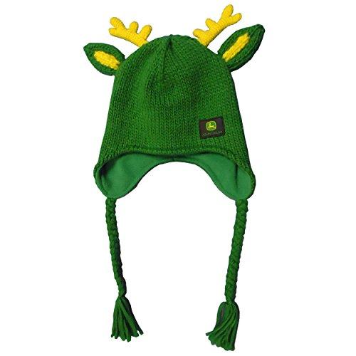 John Deere Green Knit Beanie Hat With Deer Antlers