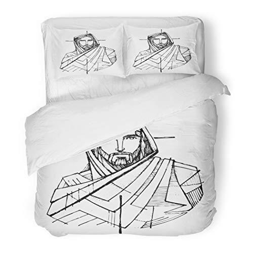 SanChic Duvet Cover Set Beard Ink Drawing Jesus Christ Cross Catholic Christian Divine Decorative Bedding Set 2 Pillow Shams King Size by SanChic