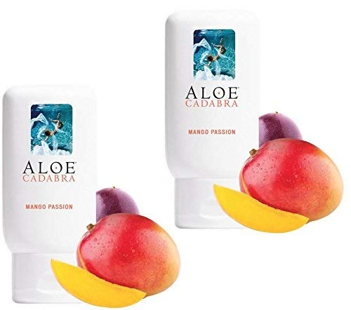 Aloe Cadabra Flavored Personal Lubricant Organic, Natural Mango Passion Lube for Anal Sex, Oral, Women, Men & Couples, 2.5 Ounce (Pack of 2) by Aloe Cadabra