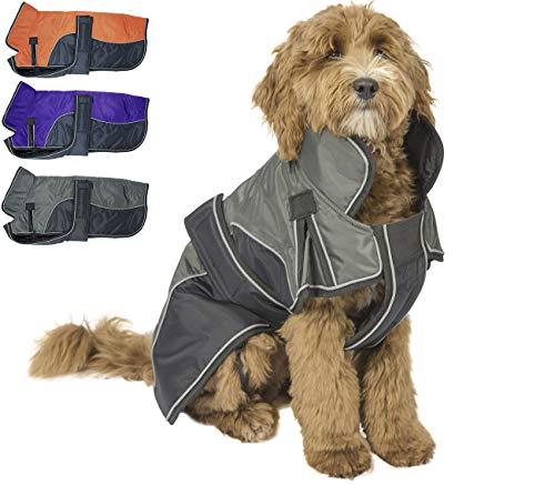 - Derby Originals 80-8200-BK-L Reflective Parka 420D Waterproof Heavy Weight 220g Polyfil Winter Dog Coat (Large, Black/Charcoal)