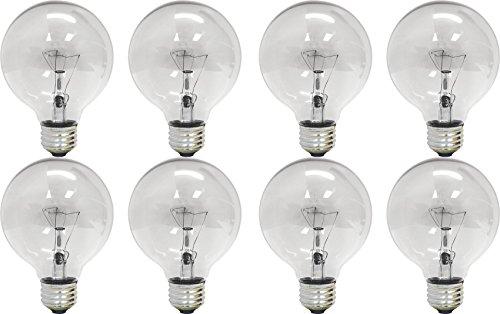 Set of 8 GE 01629 25-Watt G25 Globe Light Bulb, Crystal Clear Standard Base 190 Lumens - Crystal 25 Light