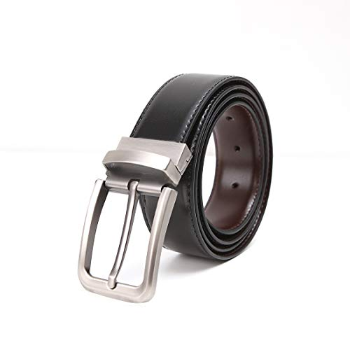 (Men's black Leather Reversible Belt jeans belts for men cowboy belt baseball belt for boys)