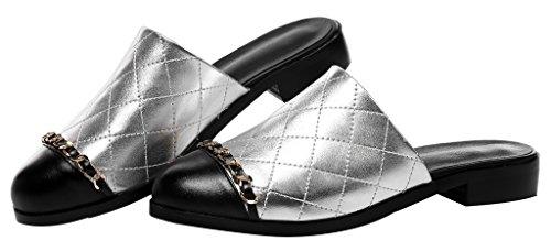 Calaier Mujer CaUnit2 Bloquear 2.5CM Cuero Ponerse Zuecos Zapatos Plateado