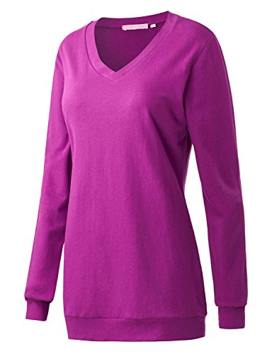 - Regna X Boho for Womens Ribbed Trim Thermal Long Enough Purple Medium v-Neck Tunic Pullover Sweats Sweatshirts