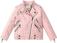 Evelin BEE Kids Girls PU Leather Long Sleeve Stand Collar Moto Jacket Casual Zip Up Outwear Coat