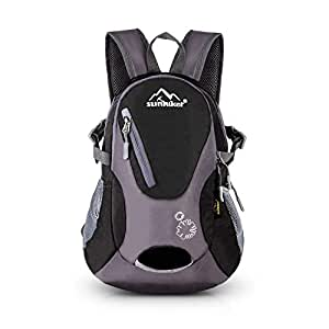 Cycling Hiking Backpack Water Resistant Travel Backpack Lightweight Small Daypack (0714-Black)