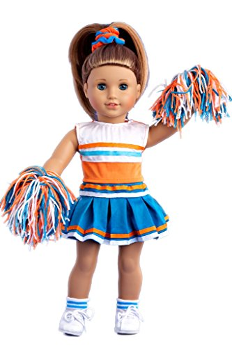 Cheerleader - 6 piece cheerleader outfit - blouse, skirt, headband, pompons, socks and shoes - 18 inch Doll Clothes (doll not included)